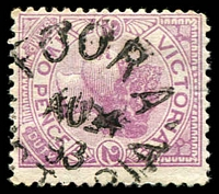 Lot 16978:Toora: - WWW #10 unframed 'TOORA/AU24/98/[V]ICTORIA' on 2d violet.  PO 18/8/1882; LPO 24/2/1994.