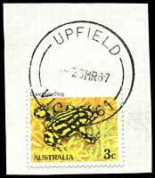 Lot 16930:Upfield (1): - WWW #40B 'UPFIELD/--23MR87/VIC 3061' (time turned off - arcs 14, 13mm) on 3c Frog.  PO 11/6/1963; closed c.1991.