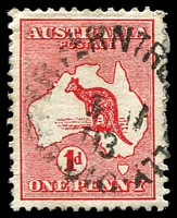 Lot 2800:Upper Ferntree Gully: WWW #10 unframed 'UPPER FERNTRE[E GU]LLY/?11/03/VIC', (1913-14 dates have 0 instead of 1 for decade) on 1d Roo.  PO 25/4/1890; LPO 26/8/1993.