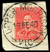Lot 17047:Upper Morrison: - WWW #10 'UPPER MORRISON/19FE40/VIC.' on 2d red KGVI.  RO c.1902; PO 1/7/1927; closed 31/12/1968.