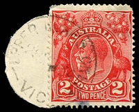 Lot 17048:Upper Ryan's Creek: - WWW #10 'UPPER RYANS CREEK/2???34/VIC' on 2d red KGV (cut-to-shape). [Rated 3P]  RO 1/1/1913; PO 1/7/1927; TO c.1931; PO 1/7/1944, provisionally closed 14/3/1963; closed 8/4/1963.