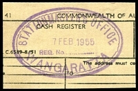 Lot 2821:Wangaratta R.S.: WWW #10 violet double-oval 'STATIONMASTER'S OFFICE/7FEB1955/WANGARATTA' on Telegram piece. [The first offered by us - Only recorded date.]  TO c.1910; closed 31/3/1976.