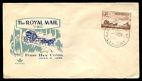 Lot 461:Royal 1955 Cobb & Co 2/- tied to illustrated FDC by 'CASTLEREAGH ST/6JY55/N.S.W-AUST' (A2 - small year wheel), unaddressed.