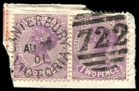 Lot 11956:722: unframed duplex 'CANTERBURY/AU20/01/VICTORIA - 722' on 2d violet pair.  Allocated to Canterbury-PO 22/11/1870; closed 1/7/1887.