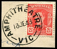 Lot 12623:Amphitheatre: - 'AMPHITHEATRE/18JE48/VIC' on 2½d red KGVI.  PO 22/6/1859; LPO 16/10/1993.