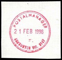 Lot 12295:Ashburton: red double-circle 'POSTAL MANAGER/21FEB1996/ASHBURTON VIC. 3147' (LRD - tel. no. removed).  PO 15/12/1927.