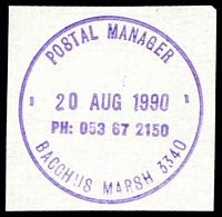 Lot 2528:Bacchus Marsh: - WWW #720 violet 'POSTAL MANAGER/20AUG1990/PH: 053 67 2150/BACCHUS MARSH 3340' (ERD). [The first offered by us.]  Renamed from Ballan PO 1/7/1850.