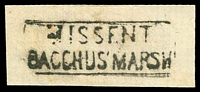 Lot 13045:Bacchus Marsh: - boxed 'MISSENT/BACCHUS MARSH'.  Renamed from Ballan PO 1/7/1850.
