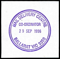 Lot 13938:Ballarat Mail Delivery Centre: - WWW #20 violet double-circle 'MAIL DELIVERY CENTRE/CO-ORDINATOR/25SEP1996/BALLARAT VIC 3350' (LRD). [The first offered by us.]  DC c.1994.