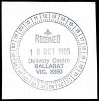 Lot 11905:Ballarat Mail Delivery Centre: - WWW #110 24-hr clock 'RECEIVED/10OCT1995/Delivery Centre/BALLARAT/VIC. 3350'. [Only recorded date.]  DC c.1994.