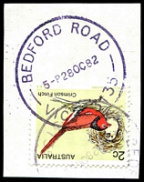 Lot 2586:Bedford Road: - WWW #20 'BEDFORD ROAD/5P28OC82/VIC-3135' in violet 2c Finch, partly o/struck with a second faint strike.  PO 1/12/1954; LPO 28/10/1993.