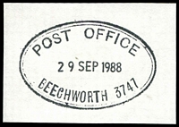 Lot 2588:Beechworth: - WWW #195 double-oval 'POST OFFICE/29SEP1988/BEECHWORTH 3747' in black.  Renamed from Spring Creek PO 1/1/1854.
