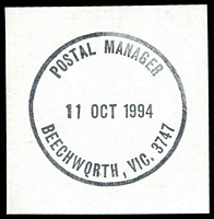Lot 2589:Beechworth: - WWW #910B 'POSTAL MANAGER/11OCT1994/BEECHWQRTH, VIC. 3747' (error Q for O in WORTH - 9DL) in black.  Renamed from Spring Creek PO 1/1/1854.