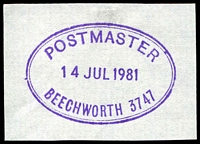 Lot 2436:Beechworth: - WWW #1010 violet 'POSTMASTER/14JUL1981/BEECHWORTH 3747'. [Rated 2R]  Renamed from Spring Creek PO 1/1/1854.