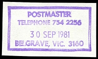 Lot 14086:Belgrave: - WWW #610 violet boxed 'POSTMASTER/TELEPHONE 754 2256/30SEP1981/BELGRAVE, VIC. 3160'. [Rated 4R]  RO c.1904; PO c.1911; LPO 1/9/1997.