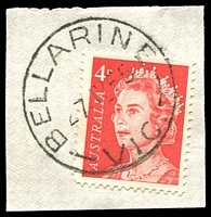 Lot 2592:Bellarine (2): - WWW #20A 'BELLARINE/27JY55/VIC.' (date error) on 4c red QEII. [Rated S]  Renamed from Bellarine East PO 16/1/1865; closed 27/4/1979.