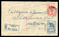 Lot 2522 [1 of 2]:Brunswick: - WWW #90A 2 strikes of 'BRUNSWICK/12JL35/VIC.', (arcs 5,5 - A1 backstamp) on 2d & 3d Jubilee on cover with black & blue registration label. [Rated R]  PO 1/1/1854.