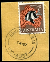 Lot 2523:Brunswick: - WWW #230A 'BRUNSWICK N.10/2AU67/VIC-AUST', on 7c Fish. [Rated 2R]  PO 1/1/1854.