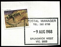 Lot 2676:Brunswick West: - WWW #710 rectangle 'POSTAL MANAGER/TEL: 380 8786/9AUG1988/BRUNSWICK WEST/VIC. 3055' on 1c Lizard. [Only recorded date.]  PO 10/3/1913; LPO 6/9/1993.