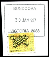 Lot 14476:Bundoora (1): - WWW #110 rectangle 'BUNDOORA/30JAN1987/VICTORIA 3083' on 3c Frog.  PO 1/10/1863; renamed Bundoora Mail Delivery Annexe DC c.1992.