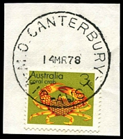 Lot 2719:Canterbury (2): - WWW #410B 'M.O. CANTERBURY/14MR78/VIC-AUST' on 3c Crab. [Rated S]  PO 23/3/1892; LPO 4/11/1996.