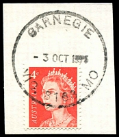 Lot 2736:Carnegie: - WWW #410 'CARNEGIE/3OCT1975/VIC. 3163 MO' on 4c red QEII. [Rated 2R]  PO 1/9/1911.
