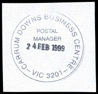 Lot 12826:Carrum Downs Business Centre: - WWW #320 'CARRUM DOWNS BUSINESS CENTRE/POSTAL/MANAGER/24FEB1999/VIC 3201' (9DL).  BC 1/7/1994; replaced by Seaford Business Centre BC 26/11/1999.