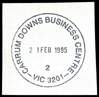Lot 2741:Carrum Downs Business Centre: - WWW #60 37mm 'CARRUM DOWNS BUSINESS CENTRE/21FEB1995/2/VIC 3201' (9DL).  BC 1/7/1994; replaced by Seaford Business Centre BC 26/11/1999.