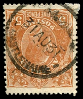 Lot 14669:Castlemaine: - WWW #200 '         /31AU31/CASTLEMAINE', ('MILITARY CAMP' removed) on 5d brown KGV. [Rated S]  Replaced Forrest Creek PO 1/1/1854.