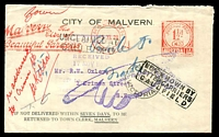 Lot 2753:Caulfield: - WWW #50A 'CAULFIELD/16NO28/VICTORIA', on face of 'Return To Sender' City of Malvern cover cancelled with red Malvern The City of Beautiful Gardens Paid meter cancel, boxed 'NOT KNOWN BY/LETTER CARRIERS/CAULFIELD' and violet pointed finger.  PO 1/1/1863; closed 31/1/1974.