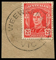 Lot 17222:Wee Wee Rup (2): - WWW #10 'WEEWEERUP/????4?/VIC' (error; one word) on 2½d red KGVI.  RO 10/2/1921; PO 1/7/1927; closed 31/1/1953.