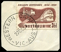 Lot 3238:Western Camp (2): - WWW #20 'WESTERN CAMP/27OC54/VIC-AUST' on 3½d Railway.  RO 16/4/1924; PO 1/7/1927; closed 20/1/1968.