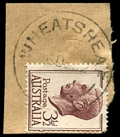 Lot 3240:Wheatsheaf: - WWW #10 'WHEATSHEAF/16DE52/VIC' on 3½d brown KGVI.  RO c.1902; PO 1/7/1927; closed 30/9/1959.