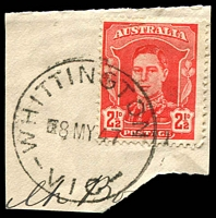 Lot 2852:Whittington: WWW #10A, 'WHITTINGTON  /8MY47/VIC' ('S' removed) on 2½d red KGVI.  RO 14/3/1908; PO 1/2/1914; LPO 6/12/1993.