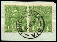 Lot 3261:Winchelsea: - WWW #50 27mm 'WINCHELSEA/11JE34/VIC' on 1d green KGV pair.  Renamed from Barwon PO 1/1/1854; LPO 23/5/1994.