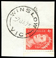 Lot 3269:Winslow: - WWW #20A 'WINSLOW/7JA75/VIC' on 4c red QEII.  PO 1/1/1865; closed 11/8/1988.