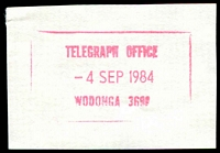 Lot 3280:Wodonga: - WWW #2030 47½x27½mm rectangle 'TELEGRAPH OFFICE/4SEP1984/WODONGA 3690' in magenta. [Only recorded date]  Renamed from Belvoir PO 26/7/1869.