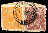 Lot 3307:Woodstock-On-Loddon: - WWW #20 'WOODSTOCK ON LODDON/1?MY33/VIC' on ½d orange & 1½d brown KGV.  PO 1/10/1864, provisionally closed 30/6/1962; closed 17/12/1962.