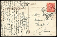 Lot 1655 [1 of 2]:Anama: - 27½mm squared-circle 'ANAMA/??2?/07/S_A' on 1d red on multicoloured PPC 'Golfing Scene' Excelsior Series card (corner faults). [Rated 2R]  PO 1/12/1905; renamed Hart PO 1/12/1913.