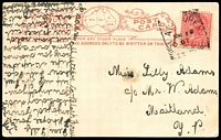 Lot 1292 [1 of 2]:Black Forest (1): - squared-circle 'BLACK [F]OREST/MR??/07/S_A' on 1d red on black & white PPC 'Torrens River, Adelaide' South Australia Post Card. [Rated 2R]  PO 1/9/1899; renamed Glandore PO 1/1/1915.