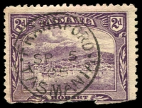 Lot 1996:Frankford: - framed 'FRANKFORD/SP5/05/TASMANIA' on faulty 2d Pictorial.  PO 2/7/1883.
