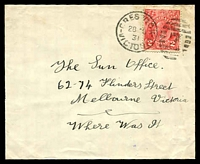 Lot 1680:7: 'CRESWICK/28AU/31/VICTORIA - 7' duplex on 2d red KGV on cover front (small part of back remaining). [This was the last numeral canceller to be withdrawn in Victoria.]  Allocated to Creswick's Creek-PO 1/9/1854; renamed Creswick PO c.1857; LPO 14/10/1994.
