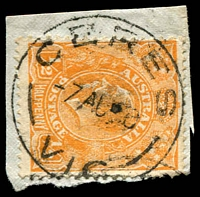 Lot 2625:Ceres: - WWW #40 'CERES/7AU?0/VIC' on ½d orange KGV. [Rated S]  PO 14/2/1856; closed 31/3/1962.