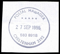 Lot 14169:Cheltenham (1): - WWW #725 'POSTAL MANAGER/...../27SEP1996/583 8918/CHELTENHAM 3192'.  PO 1/8/1857; closed 10/7/1998.