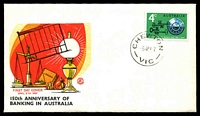 Lot 14756:Chewton: - WWW #50C 'CHEWTON/5AP67/VIC' on 4c Banking on Excelsior illustrated FDC, unaddressed.  PO 8/9/1857; LPO 5/8/1993.