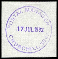 Lot 2773:Churchill: - WWW #410 violet 'POSTAL MANAGER/17JUL1992/CHURCHILL 3842' (LRD). [The first offered by us.]  PO 11/4/1966; LPO 22/11/1999.