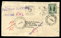 Lot 2776:Clarinda (1): - WWW #20 'CLARINDA/5DE60/VIC' on face of unclaimed cover, franked with 5d Qld. Stamp Centenary, cancelled with 21 Nov 1960 Melbourne machine, originally addressed to Clarinde PO, violet straight-line 'Unclaimed at Clayton' (A1) and violet 'UNKNOWN BY/POSTMEN CLAYTON' (B2) also on face.  RO 13/9/1911; PO c.-/10/1923, provisionally closed 27/4/1971; closed 29/7/1971.
