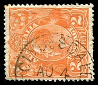 Lot 2790:Clydesdale: - WWW #20 framed 'CLYDESDALE/AU4/??/[VICTORIA]' on 2d orange KGV. [Rated 2R]  PO 3/6/1861; closed 31/1/1974.