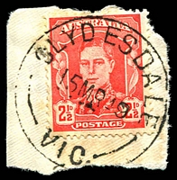 Lot 2660:Clydesdale: - WWW #30A 'CLYDESDALE/15MR49/VIC.', on 2½d red KGVI. [Rated 2R]  PO 3/6/1861; closed 31/1/1974.