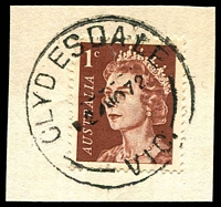 Lot 2791:Clydesdale: - WWW #30B 'CLYDESDALE/24NO72/VIC.', on 1c QEII. [Rated 3R]  PO 3/6/1861; closed 31/1/1974.